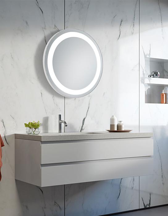 badspiegel mit led beleuchtung uhr rund wandspiegel touch